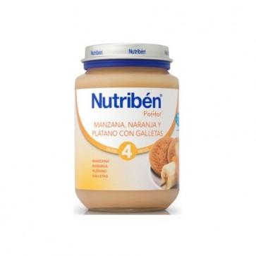 Potito Nutribén Manzana, Naranja, Platano y  Galletas 200 gr - Alimento Bebés +4 meses