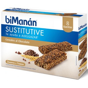 BiManán Barrita Cereales al Chocolate 8 U - Sustitutivo De Las Comidas Para Control Del Peso
