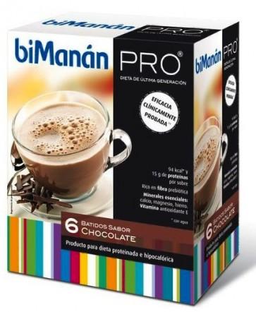 Bimanán Pro Batido de Chocolate 6 sobres - Alimento Dietético Hipocalórico e Hiperprotéico