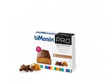Bimanán Pro Barritas Choco-Caramelo 6 U - Alimento Sustitutivo para Dietas Proteinadas e Hipocalóricas