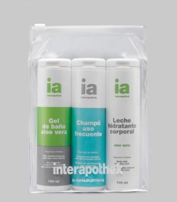 Neceser Transparente Interapothek Especial para Viaje - Gel de Ducha y Baño + Champú + Leche Corporal Hidratante