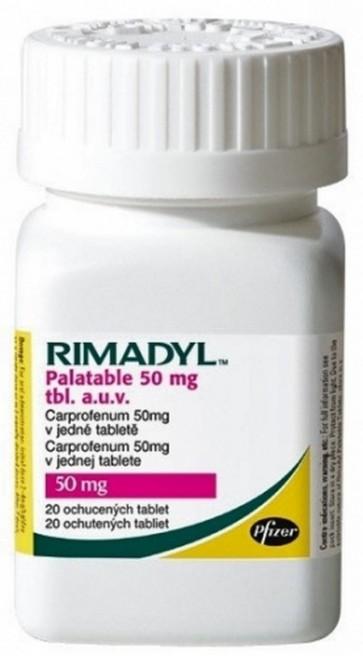 Rimadyl 20 Comprimidos Masticables 50 mg para Perros- Disminución de Inflamación y Dolores Musculares
