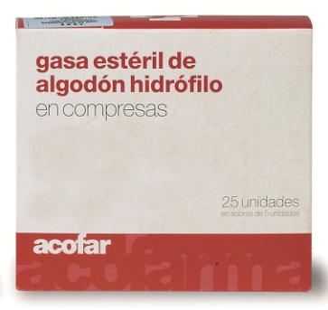 Comprar Acofar GASA ESTERIL algodón hidrofilo 25 unidades online - limpiar heridas