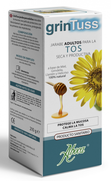 Grintuss Jarabe Adultos Tos Seca y Productiva 210 gr - Miel, Llanten