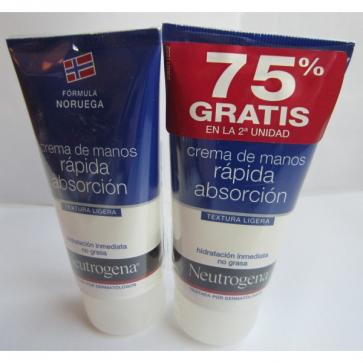 Neutrogena Crema de Manos Rápida Absorción 75 ml + 75 ml - Hidratante