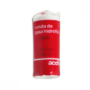Acofar VENDA de gasa hidrófila cambric 5 m X 7 cm - hidratante, lesiones