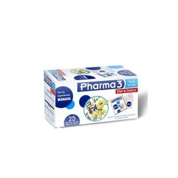 Pharma3 Diet & Detox 25 Bolsitas de 1.5gr - Infusión Depurativa Contra el Estreñimiento