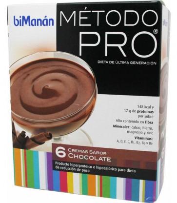 Bimanán Pro Crema Chocolate 6 sobres - Alimento Dietético Hipocalórico e Hiperprotéico