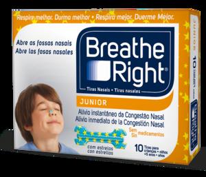 Breath Right Junior Tiras Nasales 10 Unidades - Descongestión Nasal, Frescor