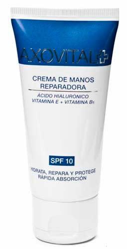 Axovital Crema De Manos Reparadora 50 ML - SPF 10+, Ácido Hialurónico, Vitamina E y B5