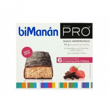 Bimanán Pro Barritas Chocolate Fresa 6 u - Snack Hiperproteico para Dietas Proteinadas e Hipocalóricas