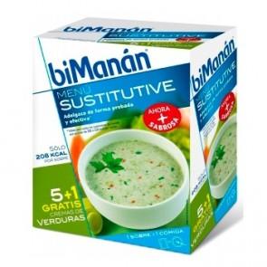 Bimanán Crema De Verduras 55 G x 6 U - Sustitutivo Comidas, Control Peso