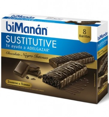 Bimanán Chocolate Negro Intenso 8 Barritas - Sustituyen Comidas, Control de Peso
