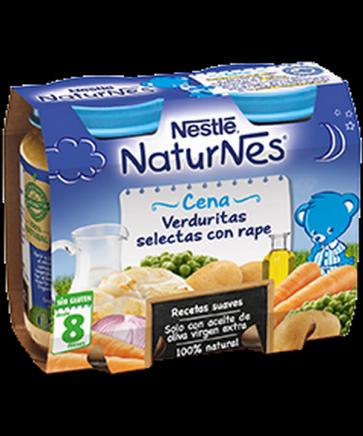 Nestlé Naturnes Verduritas Selectas Con Rape - Bipack 2 Uds de 200 gr 100 % Natural Sin Glúten