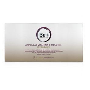 Be+ Ampollas Vitamina C Pura 15% Todo Tipo de Piel , Día y Noche - Antioxidante, Líneas de Expresión, Luminosidad
