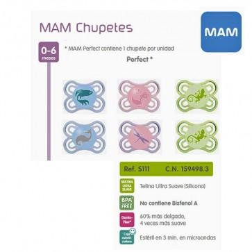 Chupete Silicona Mam Perfect Dento-Flex para Bebés de 0 a 6 meses - 1 Chupete + Caja de Esterilizado