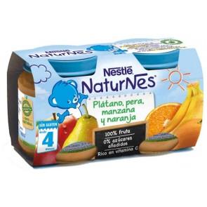 Nestlé Naturnes Plátano, Pera, Manzana y Naranja 2x130gr- Vitaminas y Energía para tu Bebé - 100% Natural