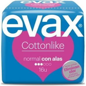 Compresas Evax Cottonlike Alas Normal 16 Unidades