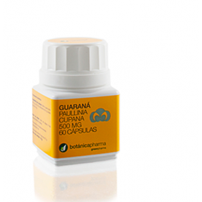 Guaraná 500 mg 60 cápsulas Botanica - Estimulante nervioso, Vasoconstrictor, Vasodilatador, Periférico, Broncodilatador.