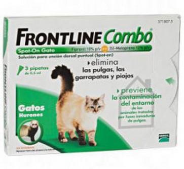 Frontline Combo Spot-On Gato y Hurón Solución Tópica - Elimina Pulgas, Piojos y Garrapatas