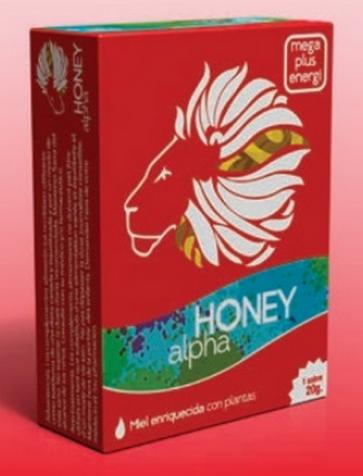 Honey Alpha 1 sobre 20 gr - Miel Enriquecida con Plantas, Estimulante