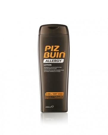 Piz Buin Allergy Loción Solar SPF 50+ 200 ml - Protección Solar Corporal para Pieles Sensibles al Sol