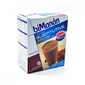 BiManán Batido Chocolate 250 gr 5 Ud - Sustitutivo Bebible De Una Comida