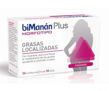 Bimanán Plus Morfotipo Pirámide 36 Cápsulas - Guaraná, Control Peso, Grasas Localizadas  Glúteos, Caderas y Piernas
