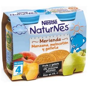 Nestlé Naturnes Merienda Manzana, Melocotón y Galleta 2x200gr - Vitaminas y Energía para tu Bebé - 100% Natural