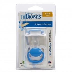 Chupete Dr Brown'S Perform Azul T2 6-18 2Ud - Promueve el Desarrollo Adecuado de la Cavidad Oral