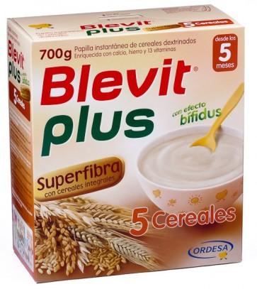 Blevit Plus Superfibra 5 Cereales 700 G - Papilla Instantánea de Cereales, Bebés Desde 4 Meses