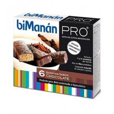 Bimanán Pro Barrita Chocolate 6 u x 27 g - Snack Hiperproteico para Dietas Proteinadas e Hipocalóricas