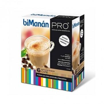 Bimanán Pro Batido de Café 6 sobres - Alimento Dietético Hipocalórico e Hiperprotéico