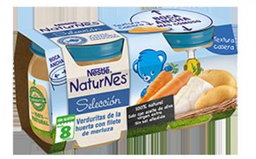 Nestlé Naturnes Verduritas de la Huerta con Filete de Merluza - Bipack 2 Uds de 200 gr 100 % Natural Sin Glúten