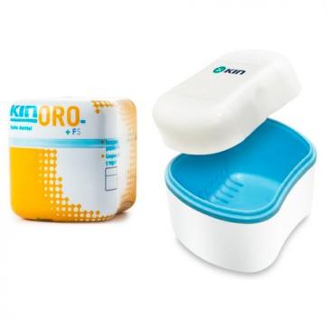 Kin Oro Bath Contenedor Protesis Dentaduras Postizas y Aparatos de Ortodoncia