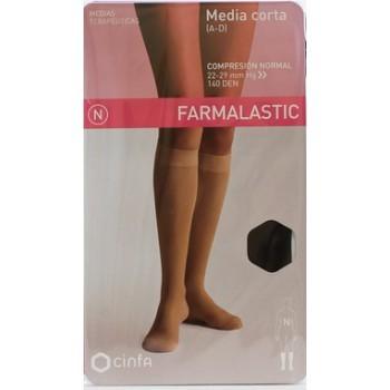 Media Corta Farmalastic Talla Grande Color Beige Compresión Normal - Con Puntera No Comprime Dedos