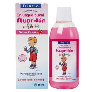 Fluor-Kin Infantil 500ml - Enjuague Bucal Infantil Sabor Fresa