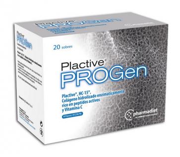 PROGen Plactive Complemento Alimenticio 20 sobres - Regeneracion Musculoesqueletica, VItamina C