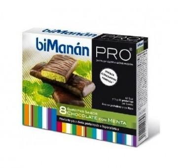 Bimanán Pro Barrita Chocolate y Menta  8 unidades - Alimento Sustitutivo para Dietas Proteinadas e Hipocalóricas