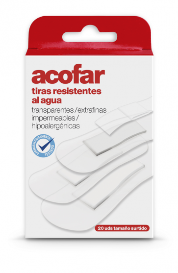 Acofar TIRAS transparentes 20 unidades - resistentes al agua, heridas