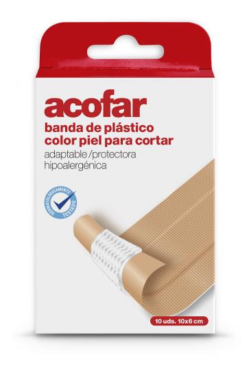 Acofar Tiritas banda plástico para cortar 10x6 cm - heridas, resistente al agua