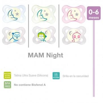 Chupete de Silicona MAM Night Bebés de 0 a 6 meses - 2 Chupetes Fluorescetes + Caja de Esterilizado Microondas