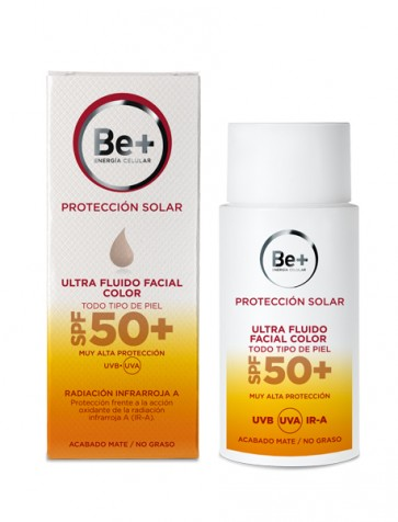 Be+ Ultra Fluido Facial Color SPF 50+ 50 ml - Todo Tipo de Piel, Acabado Mate