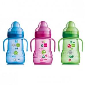 Biberón de Entrenamiento MAM 220 ml Bebés +4 meses - Boquilla Blanda de Silicona - Indicado para Beber de Forma Independiente