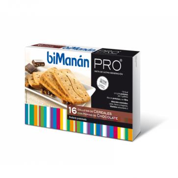 Bimanán Pro Galletas Cereales Pepitas Chocolate  200 g - Snack Hiperprotéico