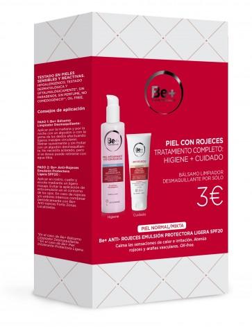 Be+ Pack Piel con Rojeces Higiene + Cuidado - Piel Normal/Mixta, Crema Anti-Rojeces, Bálsamo Limpiador Desmaquillante