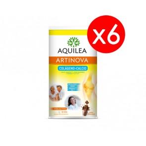 6 Botes Aquilea Artinova Colágeno + Calcio 495 g Sabor Chocolate - Complemento Alimenticio Articulaciones y Huesos