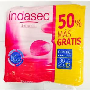 Compresas Indasec Normal Pérdidas Leves 24 + 12 unidades Gratis