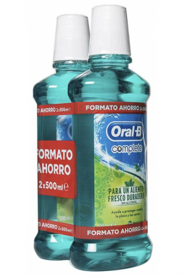 Oral-B Complete Fresh Colutorio Sabor Menta Sin Alcohol 2 x 500 ml