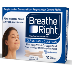 Breath Right Tiras Nasales 10 Unidades - Talla Grande, Clásicas Color Piel, Descongestión Nasal, Frescor
